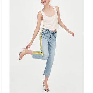 Zara high rise yellow tuxedo stripe jeans sz 4